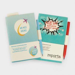 Das Reporta Notizbuch A6 Prime besteht aus recycelten Kaffee-To-Go-Cups. Papier liniiert oder unliniiert aus recyceltem Papier. Inklusive Bleistift aus recycelten CD-Hüllen/