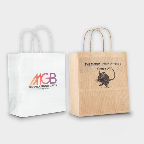 Mini Kraft Sustainable Paper Carrier Bag - marquage digital CMYK