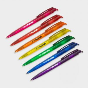 Frosted pens made from recycled plastic bottles with black ink refills