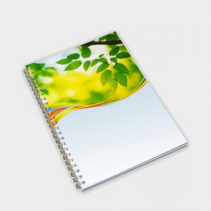 The Green & Good A5 Wirobound notebook with a full colour cover