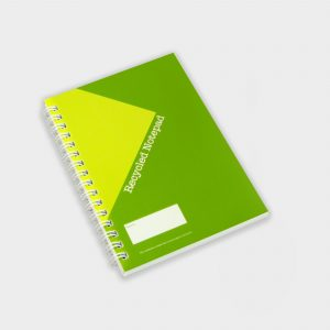 The Green & Good A6 Wirobound notebook with a full colour cover