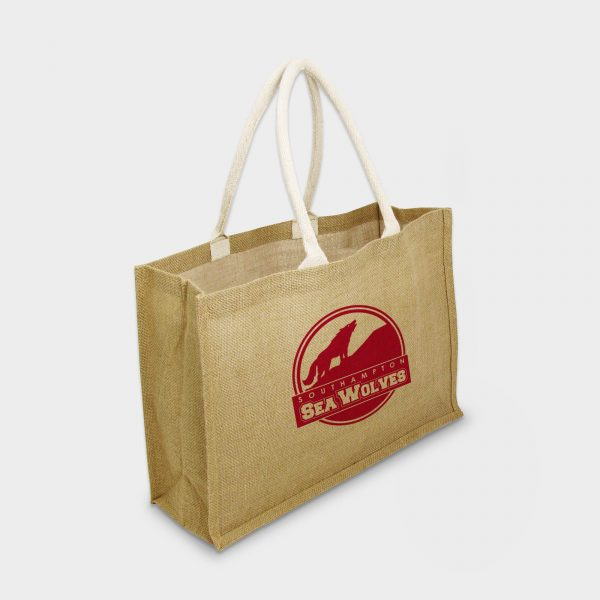 The Green & Good Jute bag for Life. Large Landscape design with deluxe handles