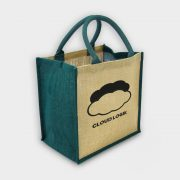 The Green & Good Jute shopping bag with coloured gussets and handles Natural / Blue