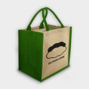 The Green & Good Jute shopping bag with coloured gussets and handles Natural / Green