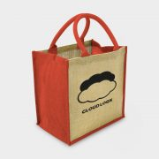 The Green & Good Jute shopping bag with coloured gussets and handles Natural / Red