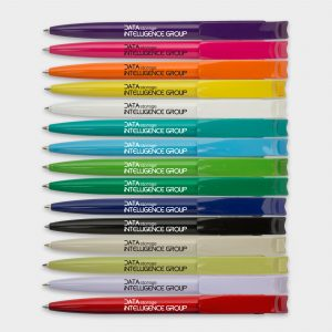 Solid colour pens made from recycled plastic bottles with black ink refills