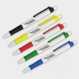 The Green & Good Bio Solid Biodegradable Pen. Corn based plastic pen with a solid coloured body and a push button. Available in a wide range of trim colours. Black ink as standard.