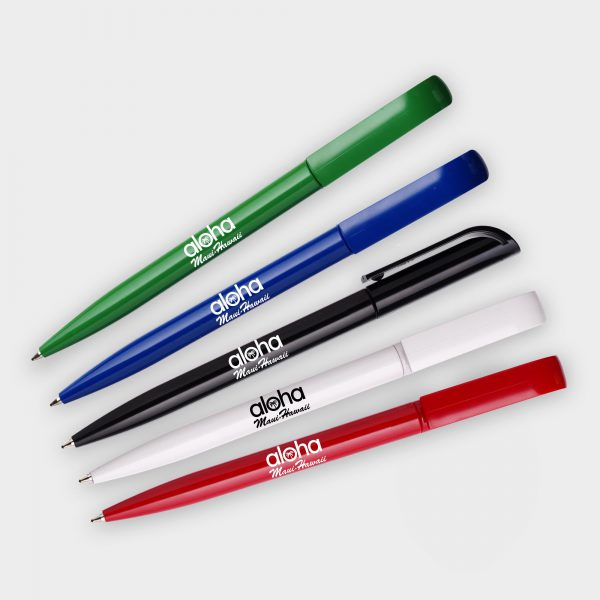 The Green & Good Eclipse Pen made from recycled CD cases. Twist action retractable pen, available in a variety of colours. Black ink as standard.