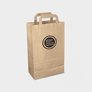 The Green & Good Recycled Paper Carrier Medium is made from recycled paper. It comes as standard with flat tape handles and is only available in brown. Made in the EU, it is great for give-aways and sturdy enough for groceries. 90gsm.