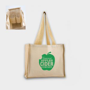 The Gloweasy Green & Eco Bag for life with bottle holders, made from Jute and 10oz Canvas / cotton