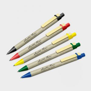 The Green & Good Recycled Card Pen. An eco-friendly pen made from natural recycled cardboard and a wooden clip. Various trim colours available. Made in Germany and comes as standard with blue ink.