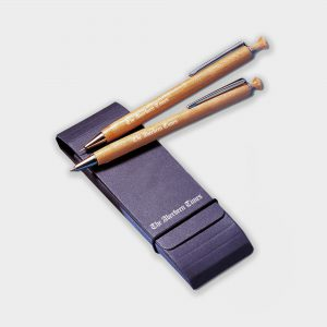 The Green & Good Albero Executive Pen and Pencil Set. Consisting of a sustainable timber pen & pencil. Both come inside a black recycled card wallet.