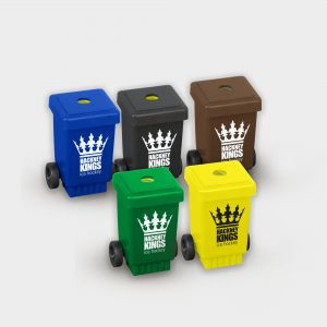 The Green & Good Wheelie Bin Pencil Sharpener made from recycled plastic (polystyrene). Made in the EU and available in a variety of colours.Features include a removable lid and small black wheels. Ideal for councils and waste management companies.