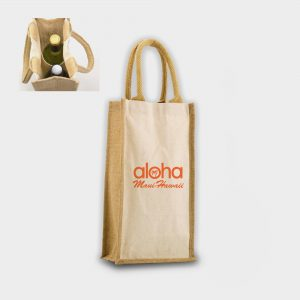 The Green & Good Salisbury Bag. A practical gift bag for bottles, it is made from a mix of unbleached cotton and sustainable jute. Comes with jute handles and internal wine bottle holders. Ethically produced in India in an audited factory. 10oz / 280sm cotton + jute. Oekotex 100 Standard.