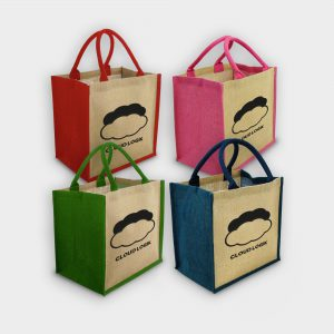 The Green & Good Jute shopping bag with coloured gussets and handles