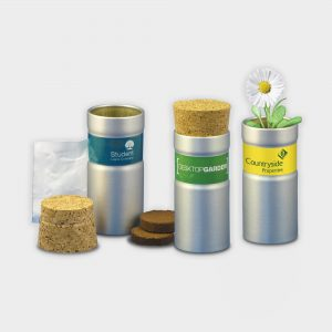 The Green & Good Desktop Garden Tube comes with a soil tablet & seed balls. It is made from part-recycled aluminium with a cork stopper and can be personalised with a digital sticker. Available in silver brushed or matt black finish.