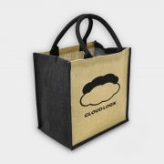 The Green & Good Jute shopping bag with coloured gussets and handles Natural / Black