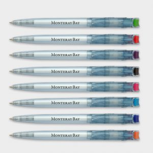 Clear Blue pens made from recycled plastic bottles with colour clip tip