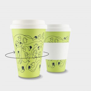 Green & Good Bamboo Fibre Travel Mug 430ml - Large Print