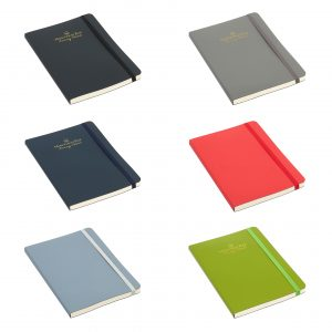Contemporary notebook with covers made from recycled leather fibres which are Oekotex certified. Made in the EU, this notebook has a great feel is and is beautifully finished. Comes as standard with 192 (96 sheets) pages ivory sustainable LINED paper. Available in 6 stylish colours with elastic closures as shown.