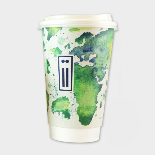 The Green & Good 16oz Eco To-Go-Papercups made with a water-based barrier coating. 100% recyclable and an eco-friendly and sustainable option for coffee shops,  catering and event companies. Double walled for easier handling of hot liquids. Made in the EU. Comes with a recyclable PS lid as standard.